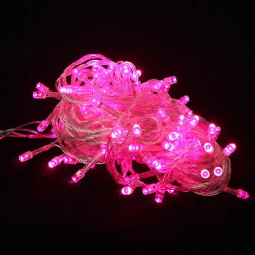 100 LED Multifunction Indoor Outdoor Wedding Party Patio Window Fairy String Dorm Lights - 32ft (Pink String Lights)