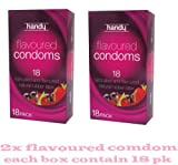 2x 18 PACK HANDY CONDOMS LUBRICATED AND FLAVOURED NATURAL RUBBER LATEX 100% ELECTRONICALLY TESTED
