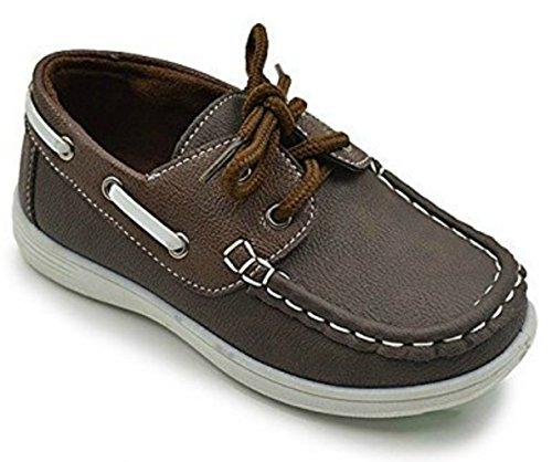 CoXist Boy's Suede PU Boat Shoe (Big Kid/Little Kid/Toddler) in Brown Size: 10 Toddler