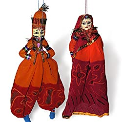 Famacart Cotton Rajasthani Puppets Wall Decor Hangings Dancings Puppet