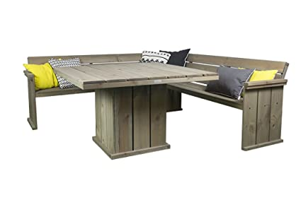Gartenmöbel Set 'Danish Design', Eckbank 210 cm + Gartentisch 118 x 118 cm, Kiefernholz, grey wash gebeitzt, verwittertes Aussehen