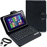 kwmobile® High Quality Universal Leather Case with integrated Bluetooth Keyboard for Acer Iconia W4-820 in Black- QWERTY Keyboard