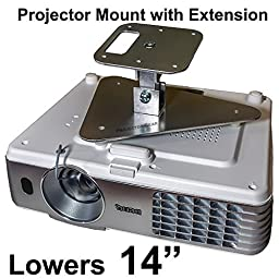 Projector-Gear Projector Ceiling Mount for EPSON PowerLite Home Cinema 740HD with Extension Lowers 14\