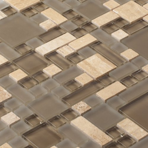 Glass Stone Mosaic TILE for Bathroom, Kitchen, Backsplash - Enigma Series, Antique Earth (1 sq.ft.)