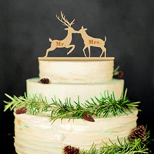 2B-better Wooden Deer Mr & Mrs Wedding Cake Topper Wedding&Anniversary Cake Decorations