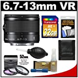 Nikon 1 6.7-13mm f/3.5-5.6 VR Nikkor-Zoom Lens (Black) with 32GB Card + 3 UV/FLD/CPL Filters + Accessory Kit for J1, J2, J3. S1, V1, V2 Digital Camera