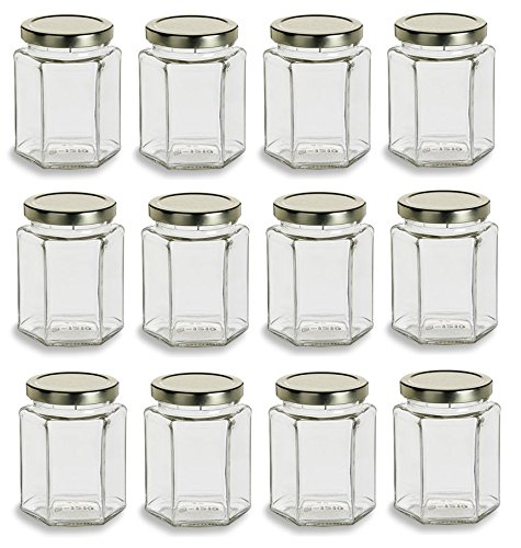 Nakpunar 12 Pcs , 9 Oz Large Hexagon Glass Jars for Jam, Honey, Wedding Favors, Shower Favors, Baby Foods, DIY Magnetic Spice Jars