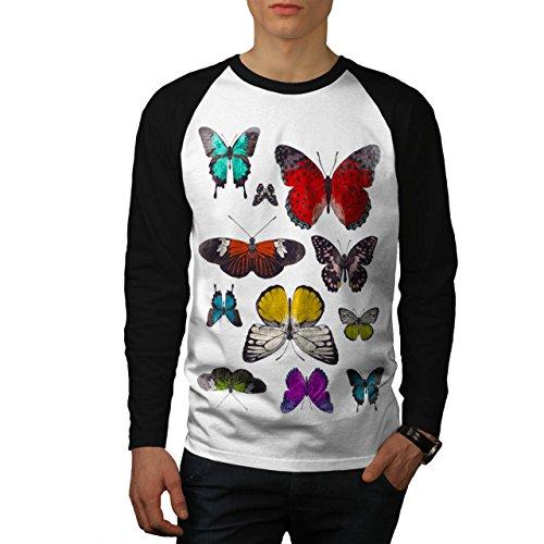 papillon-collection-couleur-aile-homme-nouveau-blanc-avec-manches-noires-l-base-ball-manche-longue-t