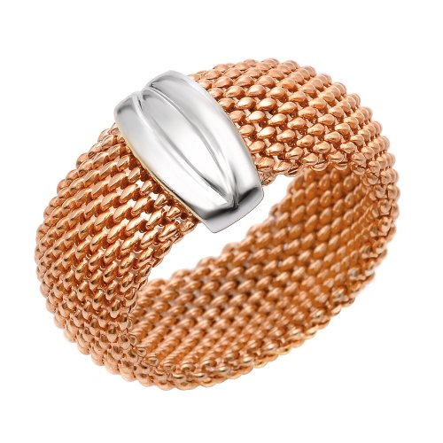 Sterling Silver Italian Rose Gold Plated Flexible Mesh Ring, Size 8