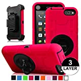 Fintie Amazon Fire Phone Case - Commander Series Three Layer Hard Shell Cover Holster with Built-in Rotating Stand and Belt Swivel Clip for Fire Phone (2014), Black/Magenta