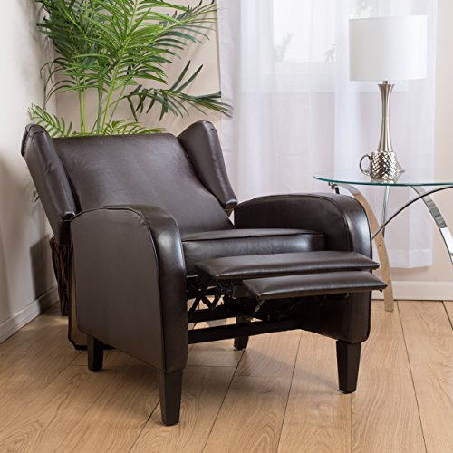 Great Deal Furniture Hadley Espresso Leather Wingback Club Chair Recliner