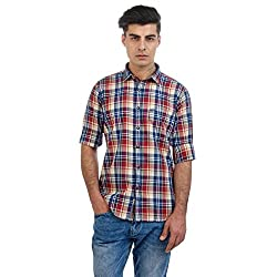 Sting Maroon Checked Slim Fit Full Sleeve Cotton Casual Shirt