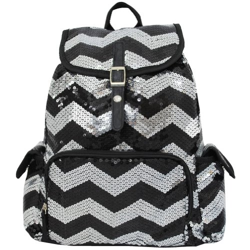 Sequin Chevron Pattern Drawstring Backpack