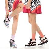 Angelina Lycra Crew Socks, 6 Pairs Pack