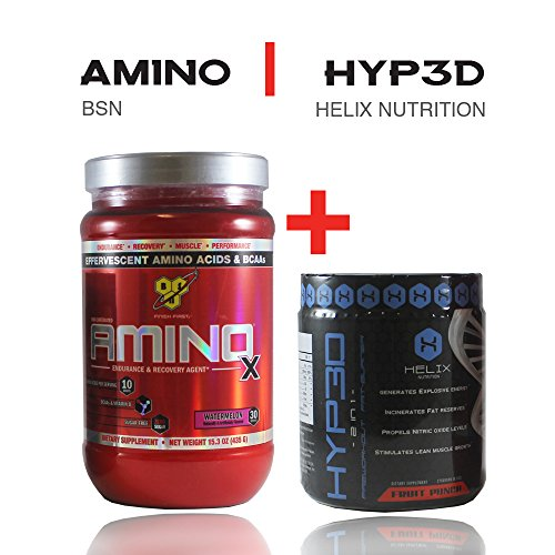 BSN Amino X - Watermelon, 15.3 Ounce, 30 Servings + Hyp3d: The World's First 2-in-1 Clinically Dosed Pre Workout & Thermogenic. Experience the Rush, Pump and Strength. Money Back Guarantee (Amino Energy Grape 70 Servings compare prices)