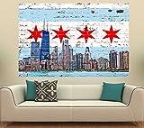 "Chicago Flag Street Skyline (36"" x 24"")"