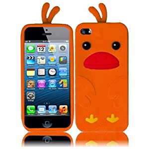 HR Wireless Funny Duck Silicone Carrying Case for iPhone 5/5S - Retail Packaging - Orange