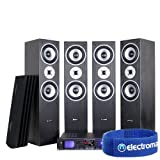 4x Skytronic Hi-fi Tower Column Stereo Speakers + H