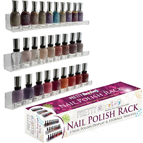Pretty Display Invisible Acrylic Nail Polish Rack 3 Shelf