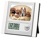 ADESSO(アデッソ) 電波デジタル目覚まし時計 フォトフレーム付き 温度表示 ホワイト C-8297W