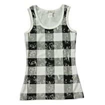 So Nikki - Girls Plaid Tank Top, Black, White, 21794-7/8