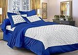 Cenizas Sanganer Jaipuri Nav Flat Double Bedsheet (Blue Queen)