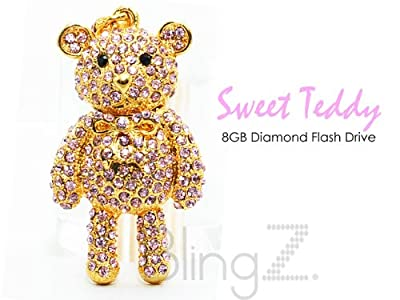 TheBlingZ 8GB Cute Teddy Bear Diamond Bling Heart Jewellery Jewelry USB Flash Drive Disk Memory with Simulated DIAMOND Crystals -Ideal Great Gift by TheBlingZ