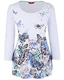 Marisota White Mint Black Blue Butterfly Print Stretch Summer Top Size 12 to 22 (16)