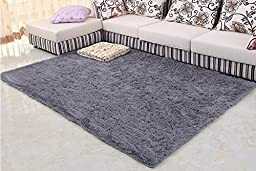 Norson Home Textiles, Super Soft Modern Shag Area Rugs Off-white Living Room Carpet Bedroom Rug Washable Rugs Solid Home Decorator Floor Rug and Carpets (47.2* 62.3 inches (120* 160 cm), Gray)