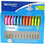 Westcott Soft Handle Kids Scissors with Anti-microbial Protection, Assorted Colors, 5-Inch Pointed, 12 Pack (14874)