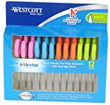 Westcott Soft Handle Kids Scissors with Microban Protection, Assorted Colors, 5-Inch Pointed, 12 Pack (14874)