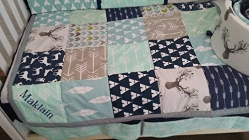 Woodland 1 to 3 Piece baby girl or boy nursery crib bedding Quilt, bumper, and bed skirt, Buck, deer, fawn, head silhouette, Arrow, Teepee, Aztec Any color theme available