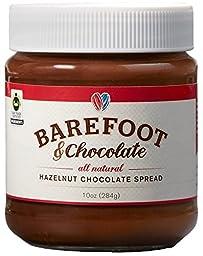 Barefoot & Chocolate - Hazelnut Chocolate Spread - 2 Jar Pack (2 x 10oz) - All Natural - Super Premium Chocolate Spread / Cocoa Spread