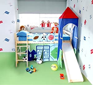 Football theme cabin bed with slide and accessories