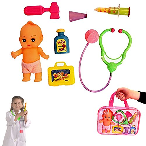 Dazzling Toys Doll Doctor Nurse Medical Kit Playset for Kids - Pretend Play Tools Toy Set