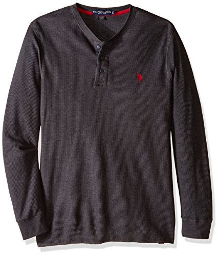 U.S. Polo Assn. Men's Long Sleeve Thermal Henley, Heather Dark Gray, Large (Men Thermal Henley compare prices)
