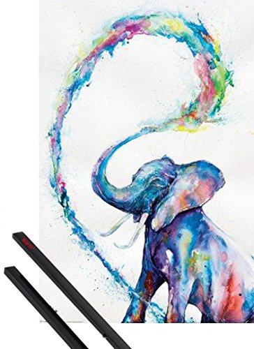 Poster + Sospensione : Elefanti Poster Stampa (91x61 cm) Elephant, Marc Allante e Coppia di barre porta poster nere 1art1®