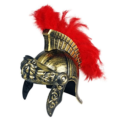 [Roman Soldier Legion Gladiator Helmet- Costume Armor - Centurion Gold Headgear] (Mens Trojan Costume)