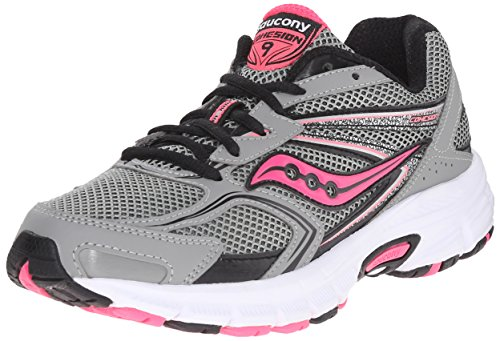 Saucony Women's Cohesion 9 running Shoe, Grey/Black/Pnk, 10 W US