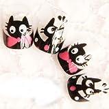 (ココ)COCO Accessory つけ爪 ネイル ビューティー リボン 猫 クロネコ にゃんこ の つけ爪 お得な のりセット! 24片 自分の爪に合わせて選ぶ フリーサイズ