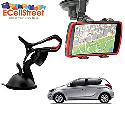 ECellStreet TM Mobile phone soft tube mount holder with suction cup - Multi-angle 360° Degree Rotating Clip Windshield Dashboard Smartphone Car Mount Holder Hyundai Elite i20