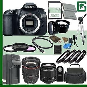 Canon EOS 60D Digital SLR Camera and Canon 18-55mm Lens and Canon 24-105mm Lens + 32GB Green's Camera Package 2