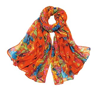 Promithi Lady Womens Colorful Floral Long Scarf Wraps Shawl Stole Soft Scarves (orange)