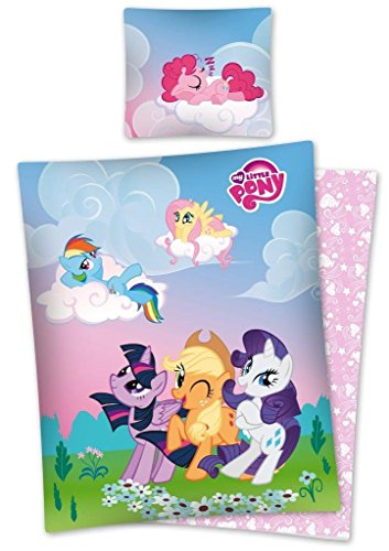 My Little Pony Biancheria da letto 100% cotone, copripiumino 140 x 200 + federa 70 x 80 Parure My Little Pony