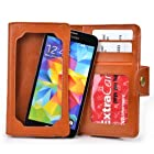 Caramel Brown Leather Phone Case with Credit Card Slots fits Samsung I8190 Galaxy S III mini