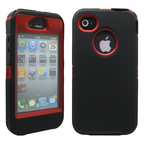 GEARONIC TM Black & Red Three Layer Silicone PC Case Cover for iPhone 4 4G 4S (Iphone 4 Silicone Cover compare prices)