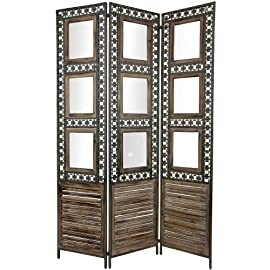 unique antique style 6 feet tall wood and metal picture frame room divider 3 panel