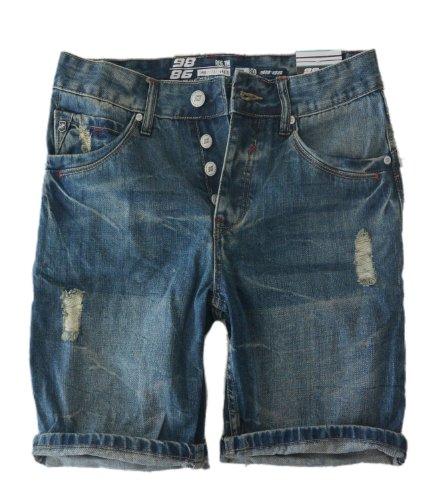 Eight2Nine Jeans uomo Jeans Bermuda Vintage Style sallerturin pantaloncini a 5 tasche pantaloni Outback Style by 98-86 Blu Denim Blue