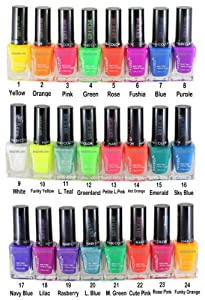 24pcs Nabi Glow in the Dark Nail Polish