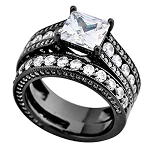 Junxin Jewelry Women Wedding Black Rings Set Cubic White Main Stone Size9